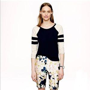J. Crew Stripe Sleeve Sweatshirt Size L Cotton